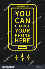 charge your phone here vector illustration stock vector 372361972