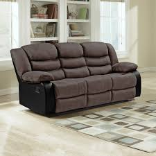 Fabric Sofa Recliners by Brown Faux Suede U0026 Black Leather Match Fabric Recliner Collection
