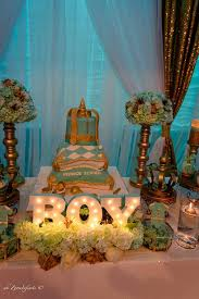 golden glamorous prince baby shower decorations treats baby