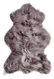 australian sheep faux fur animal shaped rug in silver tourance com