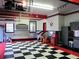 Cool Garage Pictures by Modern Garage Decors With Cool Checkered Floor Tiled Ideas Red