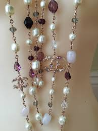 pearls necklace ebay images Chanel rose gold 4 cc pearl crystals semi precious stones necklace jpg