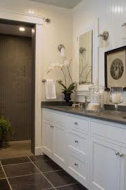 Beautiful White  Gray Bathroom Design With White Beadboard White - White cabinets for bathroom
