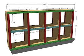 Free Built In Bookcase Woodworking Plans by Ana White 2x4 Console Cubby Shelves Diy Projects