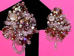 Costume Chandelier Earrings Vintage Costume Bridal Jewelry Bridal Dangle Drop Chandelier
