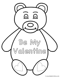 teddy bear be my valentine coloring page valentine u0027s day