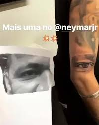 barcelona star neymar reveals new tattoo of his mum u0027s face to join