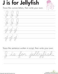 cursiv j cursive letters a z education