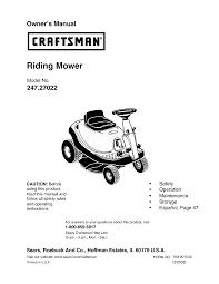 craftsman lawn mower 247 27022 user guide manualsonline com