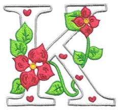 flower letter k embroidery design by glenn harris designs