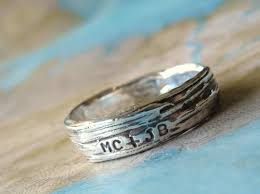 Ring With Initials Rustic Bark Ring Personalized Silver Jewelry Lover U0027s Ring