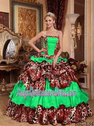 quince dress ups and ruffled layers leopard quinceanera dress in green