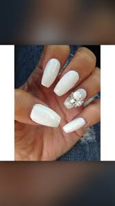 white gel acrylic coffin shaped nails nails pinterest white