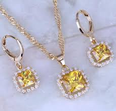 beautiful earring necklace set images Beautiful yellow citrine cubic zirconia square jewelry sets 18k jpg
