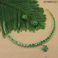 gold green necklace images Emerald stones single line flower design gold plated finish jpg
