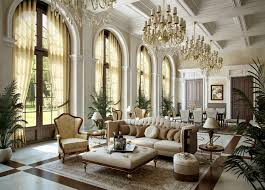 spacious victorian style living room design with luxury crystal