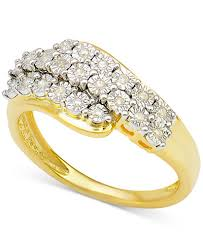cluster rings diamond cluster ring 1 10 ct t w in 14k gold plated sterling