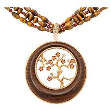 wood necklace images Natural orange branch coral necklace for sale at 1stdibs jpg