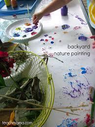backyard painting with nature teach mama