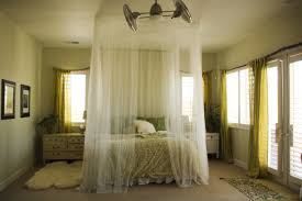 rods hang from ceiling simulate a canopy bed