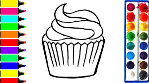rainbow cupcake coloring page learn colors for girls and kids