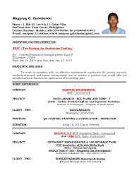Sample Qa Resumes by Resume Of Qaqc Inspector Coating Painting And Insulation