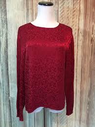 ls with red shades vtg cp shades sausalito red blouse shirt top jacquard brocade rayon