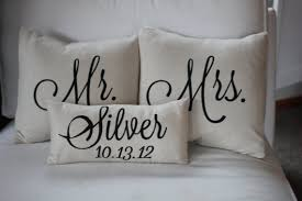 Personalized Pictures With Names Mr U0026 Mrs Custom Pillow With Name And Wedding Date 60 00 Via