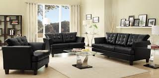 Black Leather Sofa Modern Living Room Furniture Dashing Black Leather Sofa Set For