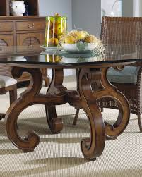 old style glass top round dining tables with wood base and rattan