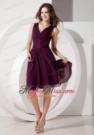 customize dark purple cocktail dress empire v neck chiffon beading