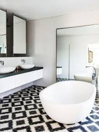 white wall pattern tile design for small bathroom and black white