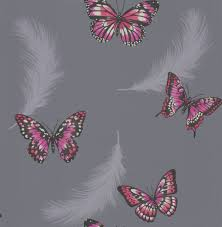butterflies charcoal pink wallpaper by albany purple