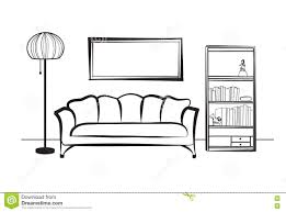 interior furniture with sofa floor lamp book shelf books and