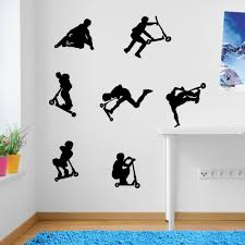amazon com kids stunt scooters jumps tricks wall decorations amazon com kids stunt scooters jumps tricks wall decorations wall stickers vinyl decor wall art wall decals wall decal decals children wall decals home