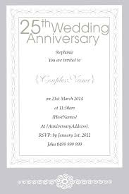 invitation card for silver jubilee wedding anniversary tbrb info