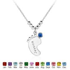 sterling silver personalized jewelry customized name necklace 925 sterling silver birthstone