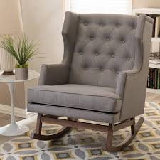Accent Rocking Chairs Baxton Studio Iona Mid Century Gray Fabric Upholstered Rocking