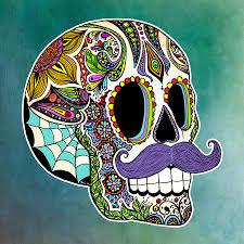 mustache sugar skull digital by tammy wetzel