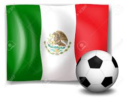 illustration of a soccer ball in front of the mexico flag isolated