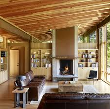 Wooden Interior Newberg Residence Exotic Green Escape Built Around A Man Made Pond