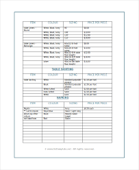 product list template wholesale price list invoice example