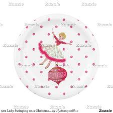 50s lady swinging on a christmas ornament paper plate christmas
