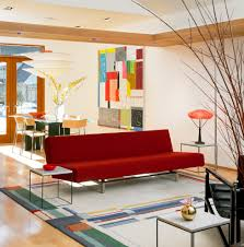 Red Sofa In Living Room by Modern Red Sofa Living Room Modern With Artwalk Rug Black Leather
