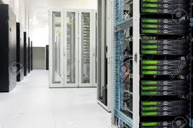clean industrial interior of a server room with servers stock