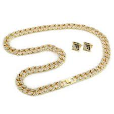 hip necklace chain images Mens gold tone cuban cz hip hop full stone iced out 30 quot 15mm miami jpg