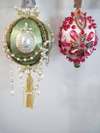 pair pink vintage beaded ornaments pink white chandelier