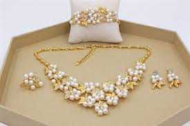 gold pearl necklace sets images 2015 new classic imitation pearl jewelry sets 18k gold plated jpg