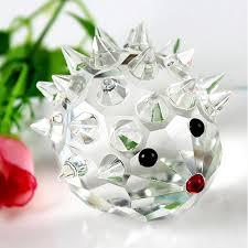 3size glass hedgehog ornaments quartz animal figurines