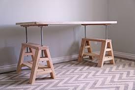 Diy Adjustable Desk White Modern Indsutrial Adjustable Sawhorse Desk To Coffee
